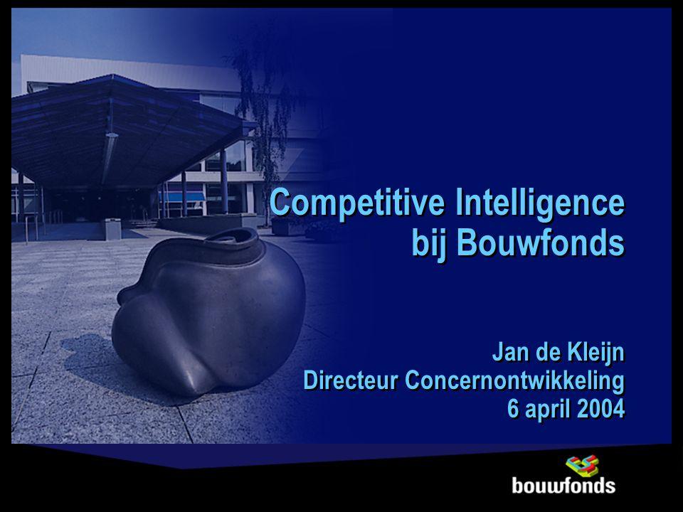 Competitive Intelligence bij Bouwfonds Jan de Kleijn Directeur Concernontwikkeling 6 april 2004 Competitive Intelligence bij Bouwfonds Jan de Kleijn D
