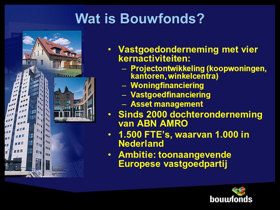 Vastgoedonderneming met vier kernactiviteiten: –Projectontwikkeling (koopwoningen, kantoren, winkelcentra) –Woningfinanciering –Vastgoedfinanciering –Asset management Sinds 2000 dochteronderneming van ABN AMRO 1.500 FTE's, waarvan 1.000 in Nederland Ambitie: toonaangevende Europese vastgoedpartij Wat is Bouwfonds