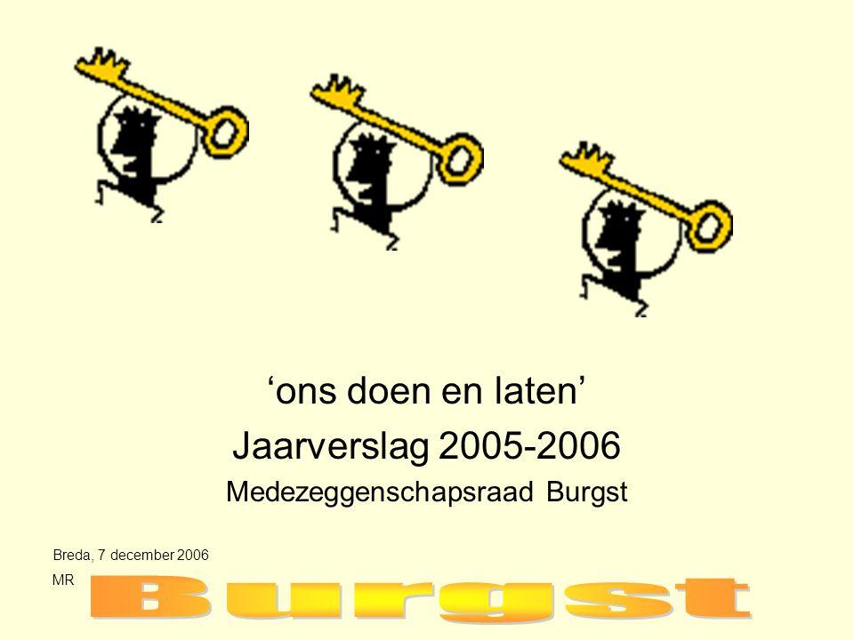 'ons doen en laten' Jaarverslag 2005-2006 Medezeggenschapsraad Burgst Breda, 7 december 2006 MR