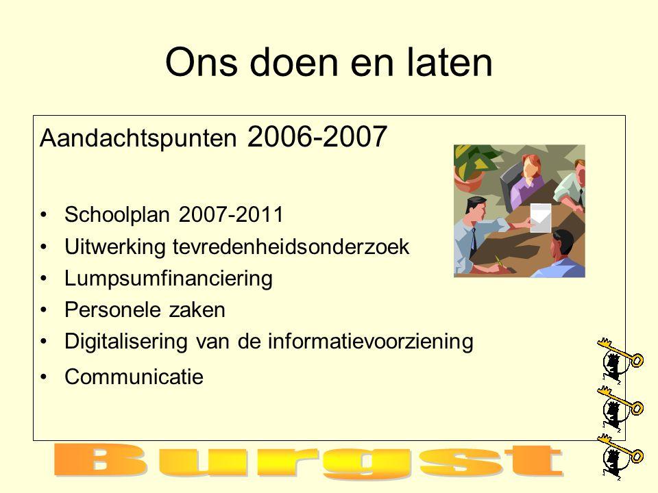 Ons doen en laten Aandachtspunten 2006-2007 Schoolplan 2007-2011 Uitwerking tevredenheidsonderzoek Lumpsumfinanciering Personele zaken Digitalisering van de informatievoorziening Communicatie