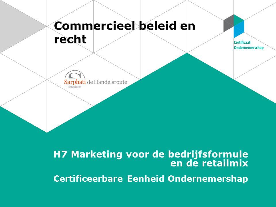 Commercieel beleid en recht H7 Marketing voor de bedrijfsformule en de retailmix Certificeerbare Eenheid Ondernemershap