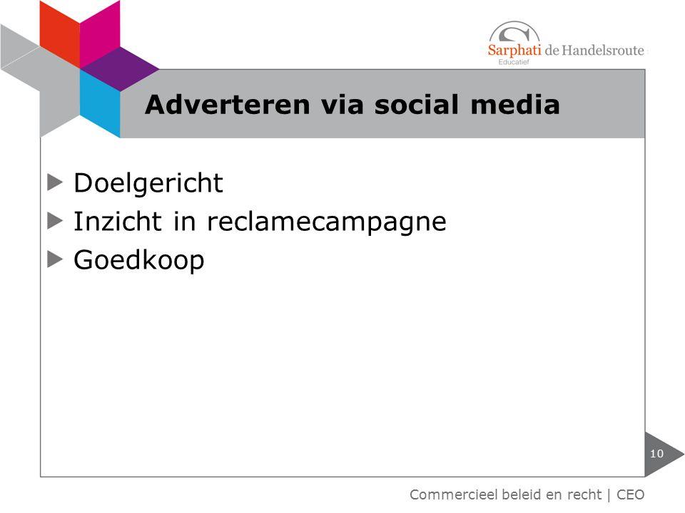 Doelgericht Inzicht in reclamecampagne Goedkoop 10 Commercieel beleid en recht | CEO Adverteren via social media