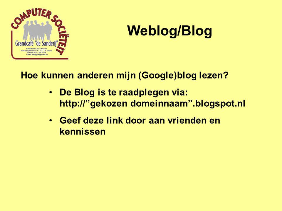 """Hoe kunnen anderen mijn (Google)blog lezen? De Blog is te raadplegen via: http://""""gekozen domeinnaam"""".blogspot.nl Geef deze link door aan vrienden en"""