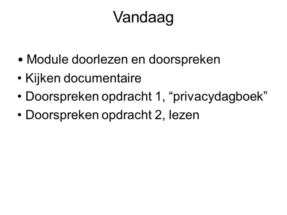 Vandaag Module doorlezen en doorspreken Kijken documentaire Doorspreken opdracht 1, privacydagboek Doorspreken opdracht 2, lezen
