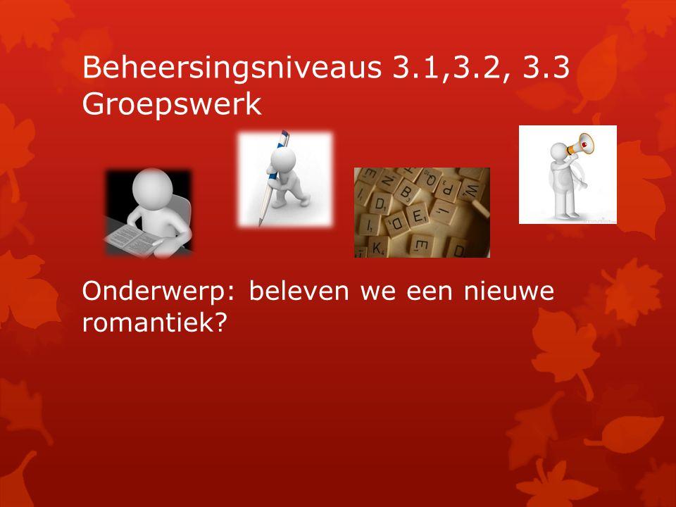 Beheersingsniveaus 3.1,3.2, 3.3 Groepswerk Onderwerp: beleven we een nieuwe romantiek