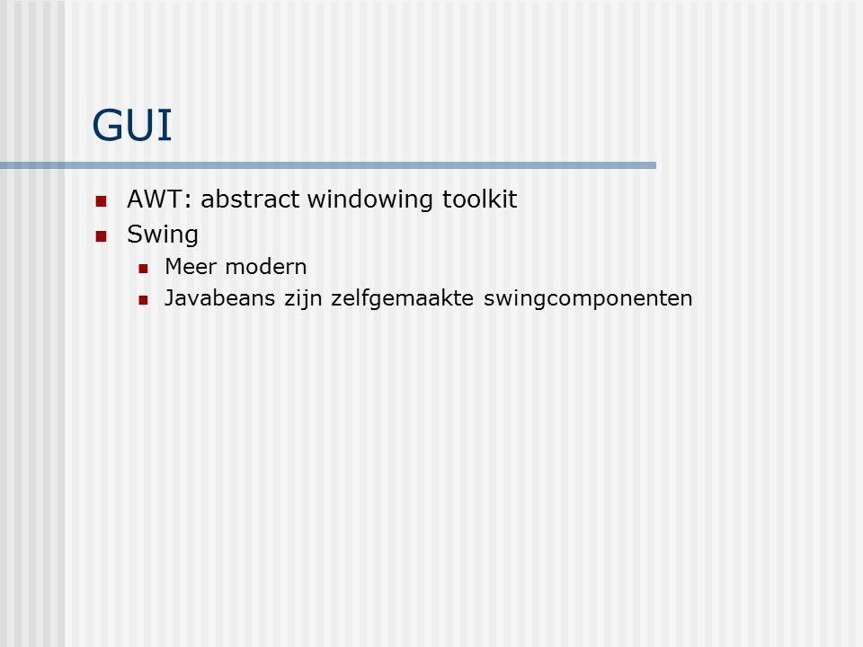 GUI AWT: abstract windowing toolkit Swing Meer modern Javabeans zijn zelfgemaakte swingcomponenten