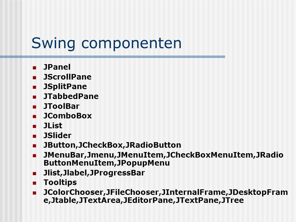 Swing componenten JPanel JScrollPane JSplitPane JTabbedPane JToolBar JComboBox JList JSlider JButton,JCheckBox,JRadioButton JMenuBar,Jmenu,JMenuItem,J