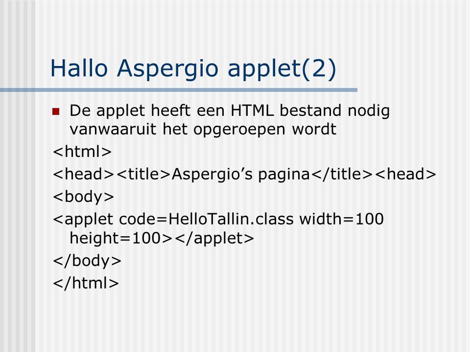 Hallo Aspergio applet(2) De applet heeft een HTML bestand nodig vanwaaruit het opgeroepen wordt Aspergio's pagina