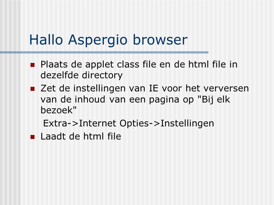Hallo Aspergio browser Plaats de applet class file en de html file in dezelfde directory Zet de instellingen van IE voor het verversen van de inhoud v
