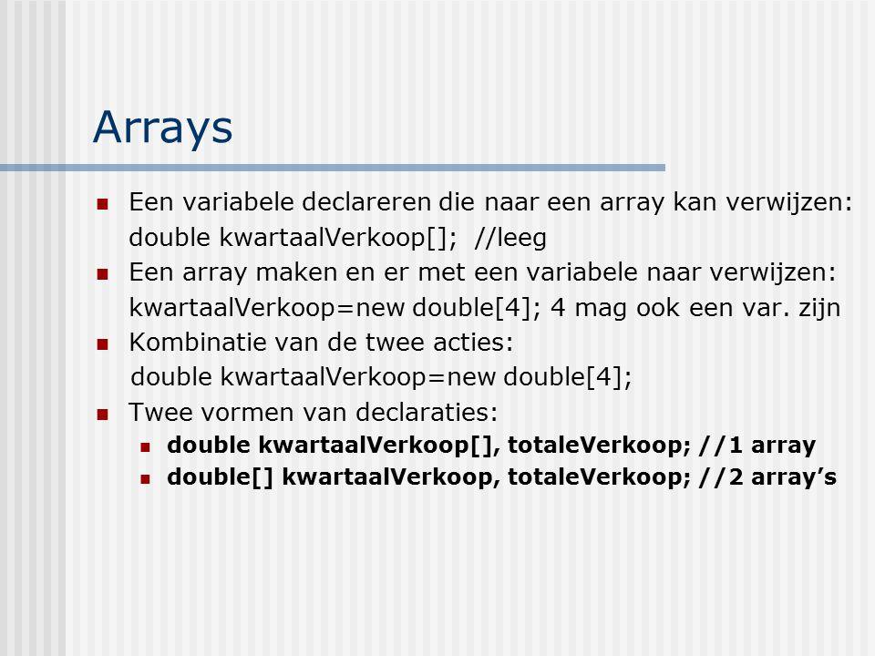 Arrays Een variabele declareren die naar een array kan verwijzen: double kwartaalVerkoop[]; //leeg Een array maken en er met een variabele naar verwij