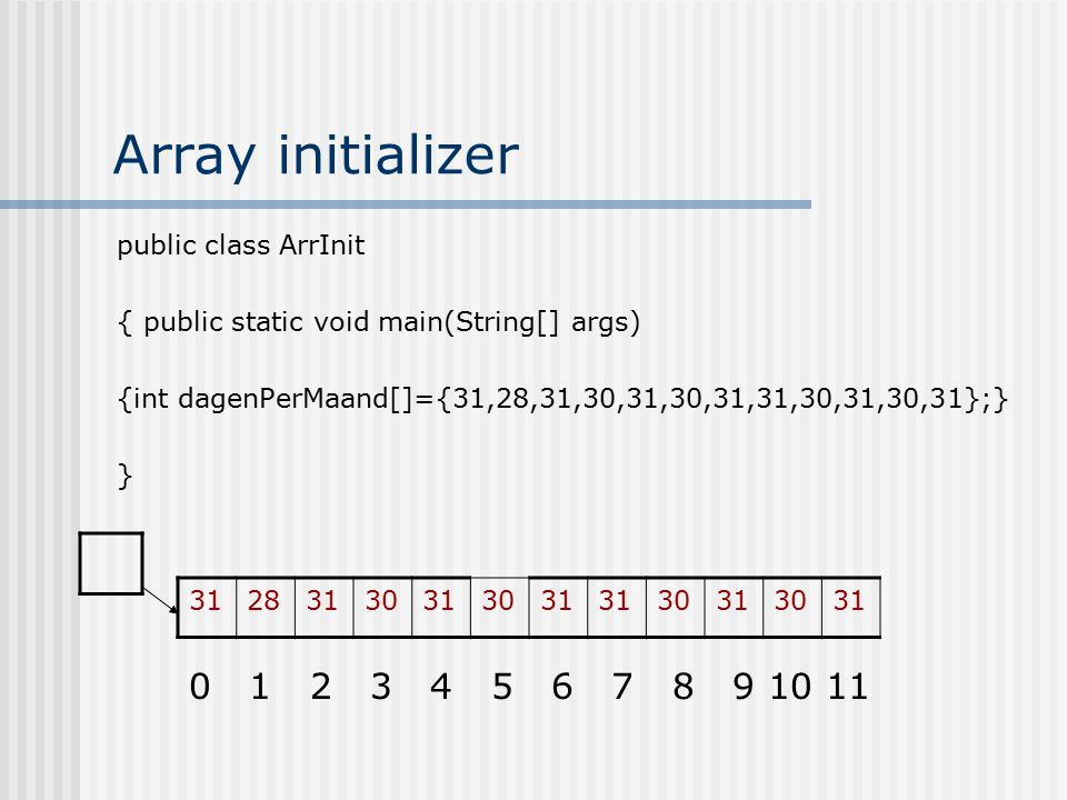Array initializer public class ArrInit { public static void main(String[] args) {int dagenPerMaand[]={31,28,31,30,31,30,31,31,30,31,30,31};} } 31283130313031 30313031 0 1 2 3 4 5 6 7 8 9 10 11