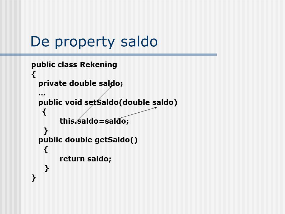 De property saldo public class Rekening { private double saldo; … public void setSaldo(double saldo) { this.saldo=saldo; } public double getSaldo() {
