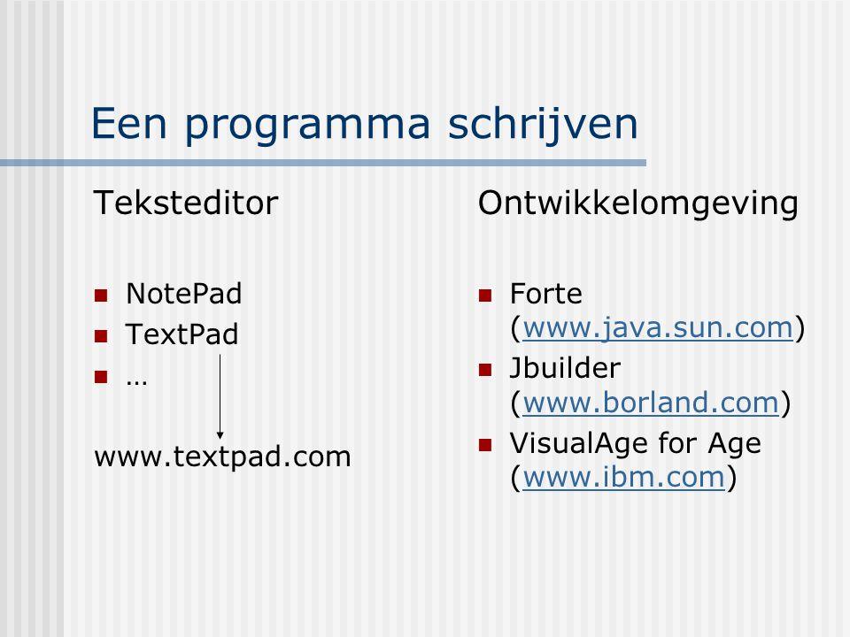 Een programma schrijven Teksteditor NotePad TextPad … www.textpad.com Ontwikkelomgeving Forte (www.java.sun.com)www.java.sun.com Jbuilder (www.borland