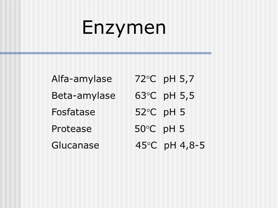 Enzymen Alfa-amylase 72°C pH 5,7 Beta-amylase 63°C pH 5,5 Fosfatase 52°C pH 5 Protease 50°C pH 5 Glucanase 45°C pH 4,8-5