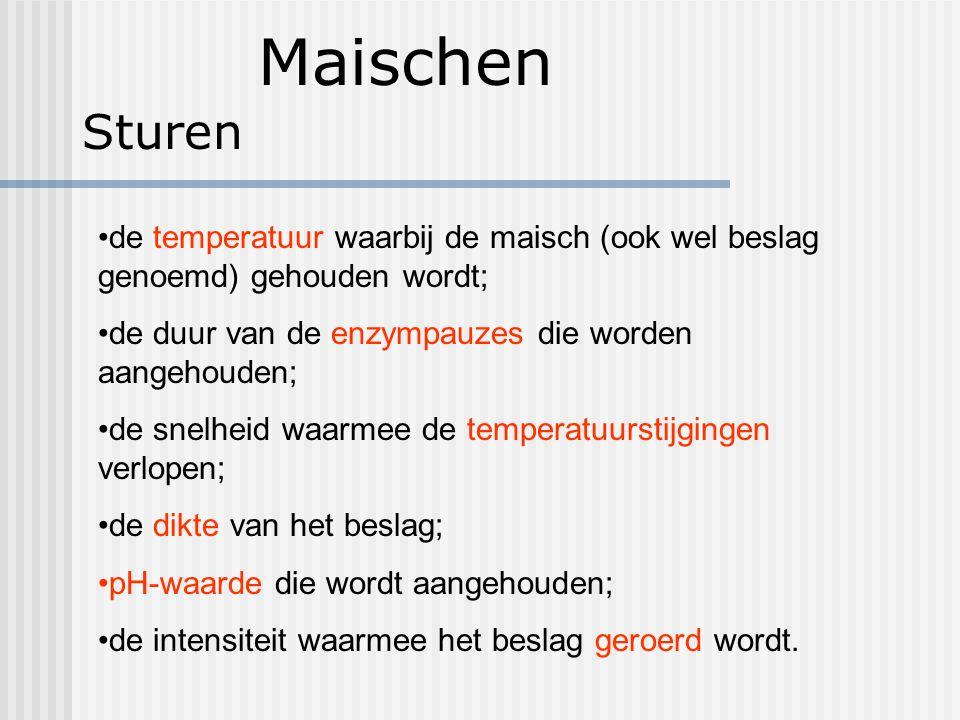 Maischen Sturen de temperatuur waarbij de maisch (ook wel beslag genoemd) gehouden wordt; de duur van de enzympauzes die worden aangehouden; de snelhe