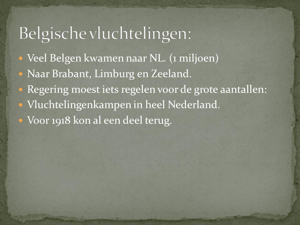 Veel Belgen kwamen naar NL. (1 miljoen) Naar Brabant, Limburg en Zeeland.