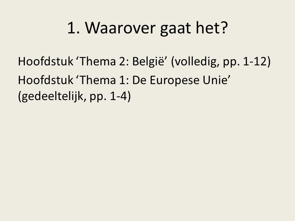 1. Waarover gaat het? Hoofdstuk 'Thema 2: België' (volledig, pp. 1-12) Hoofdstuk 'Thema 1: De Europese Unie' (gedeeltelijk, pp. 1-4)
