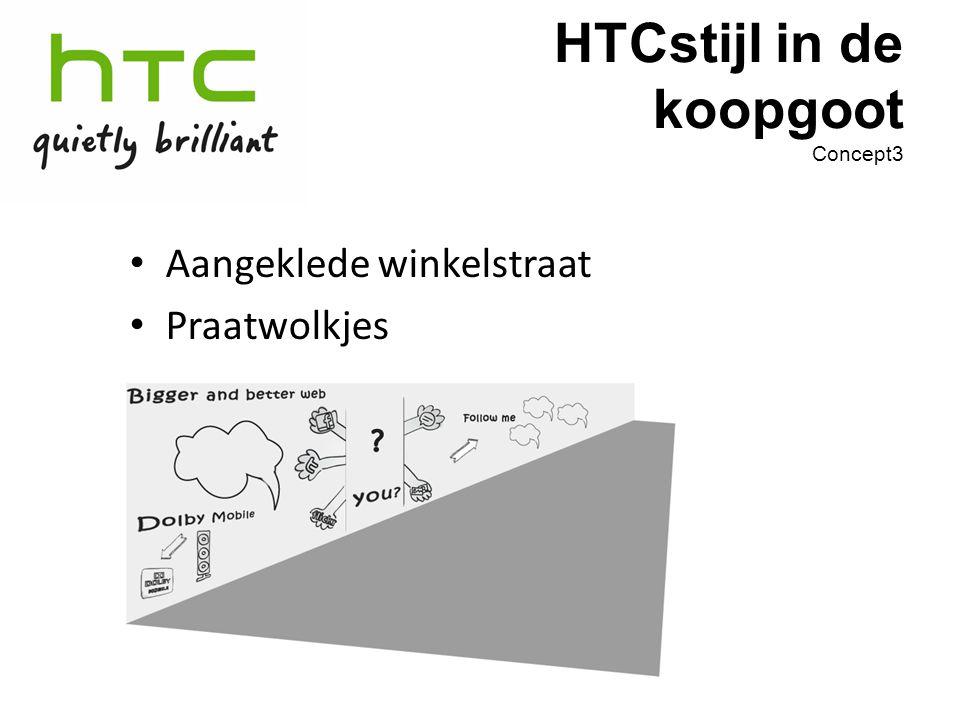 Aangeklede winkelstraat Praatwolkjes HTCstijl in de koopgoot Concept3