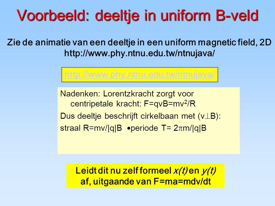 Voorbeeld: deeltje in uniform B-veld Nadenken: Lorentzkracht zorgt voor centripetale kracht: F=qvB=mv 2 /R Dus deeltje beschrijft cirkelbaan met (v  B): straal R=mv/ q B  periode T= 2  m/ q B Leidt dit nu zelf formeel x(t) en y(t) af, uitgaande van F=ma=mdv/dt Zie de animatie van een deeltje in een uniform magnetic field, 2D http://www.phy.ntnu.edu.tw/ntnujava/