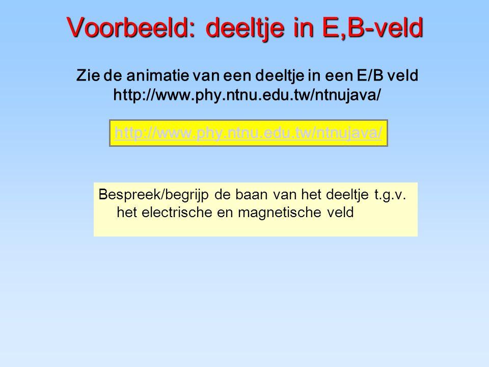 Voorbeeld: deeltje in E,B-veld Bespreek/begrijp de baan van het deeltje t.g.v.