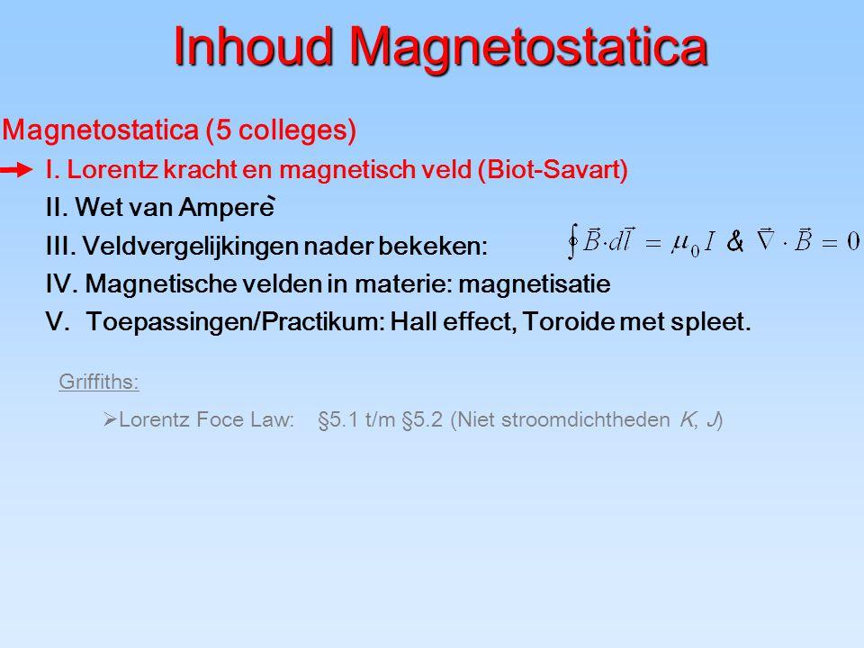 Wet van Biot-Savart: experiment I P dl –permeabiliteit: Samenhang: elektrostatica: ladingen magnetostatica: stromen 1/  0  0 = c 2 [ m 2 /s 2 ] –permittiviteit: Elektrische stroom  magnetisch veld!