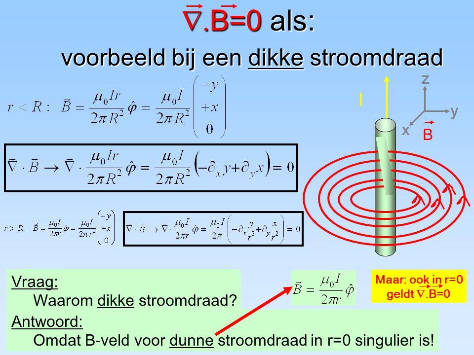  B=0 als: voorbeeld bij een dikke stroomdraad Vraag: Waarom dikke stroomdraad.