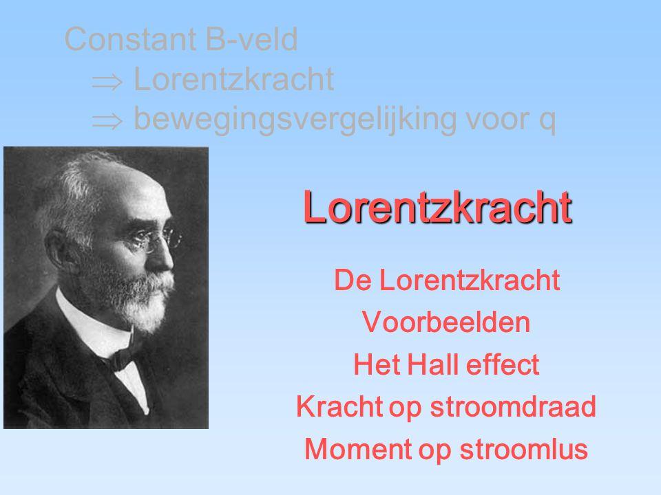 Lorentzkracht De Lorentzkracht Voorbeelden Het Hall effect Kracht op stroomdraad Moment op stroomlus Constant B-veld  Lorentzkracht  bewegingsvergelijking voor q
