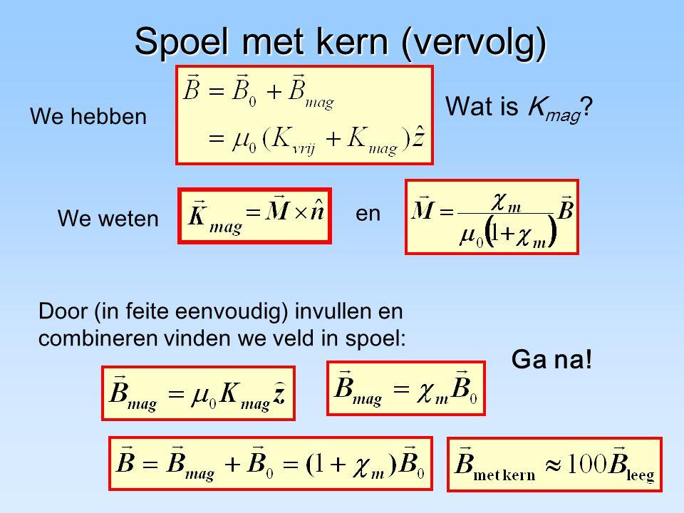 Spoel met kern (vervolg) Door (in feite eenvoudig) invullen en combineren vinden we veld in spoel: Wat is K mag .