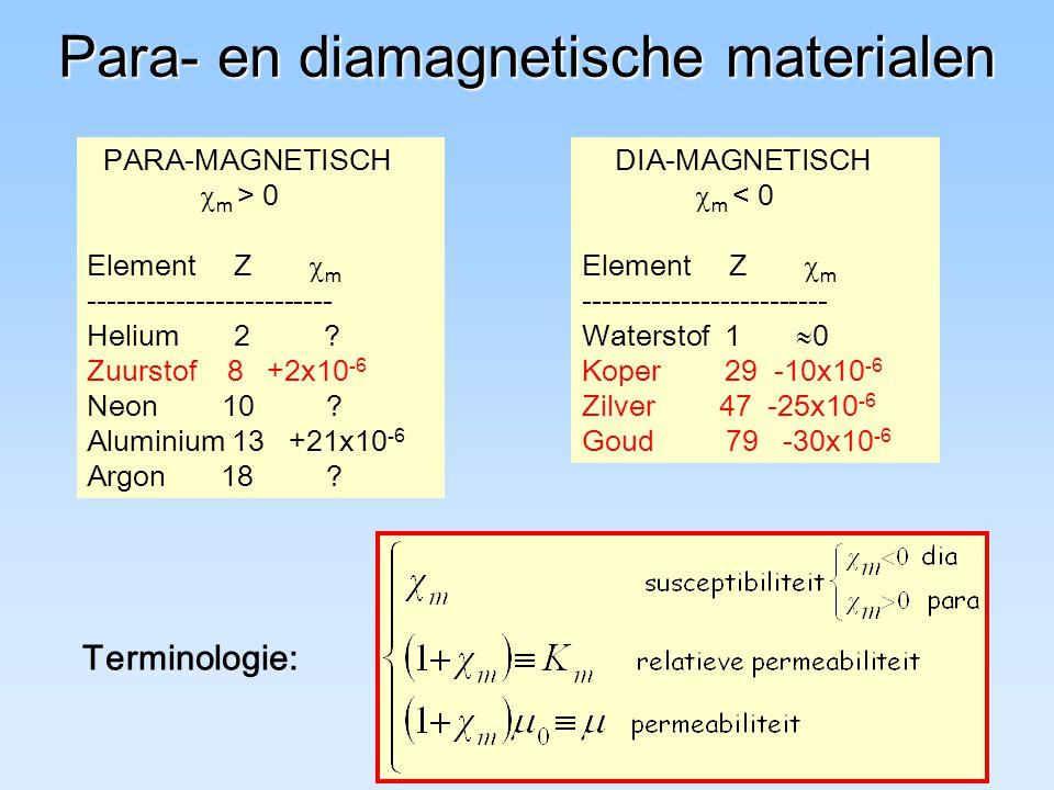 Para- en diamagnetische materialen PARA-MAGNETISCH  m > 0 Element Z  m ------------------------- Helium 2 .