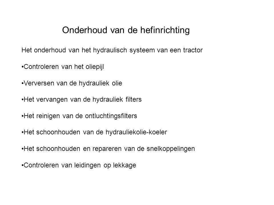 Onderhoud van de hefinrichting Het onderhoud van het hydraulisch systeem van een tractor Controleren van het oliepijl Verversen van de hydrauliek olie