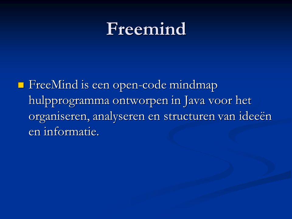 Freemind FreeMind is een open-code mindmap hulpprogramma ontworpen in Java voor het organiseren, analyseren en structuren van ideeën en informatie.