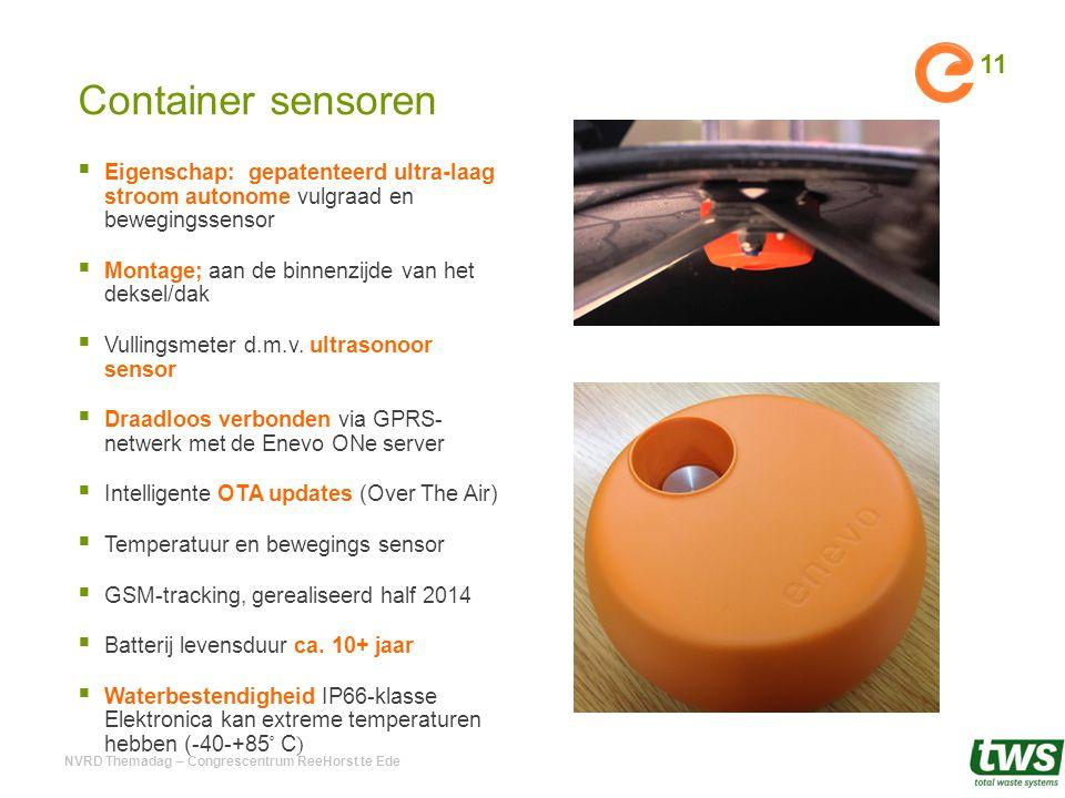 Container sensoren  Eigenschap: gepatenteerd ultra-laag stroom autonome vulgraad en bewegingssensor  Montage; aan de binnenzijde van het deksel/dak
