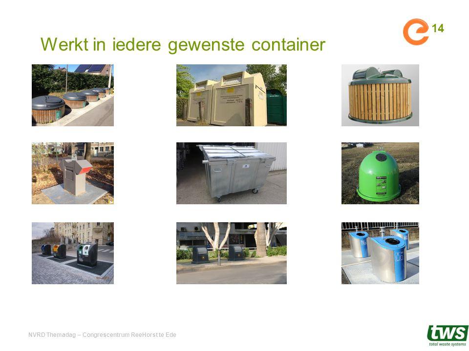 Werkt in iedere gewenste container NVRD Themadag – Congrescentrum ReeHorst te Ede 14