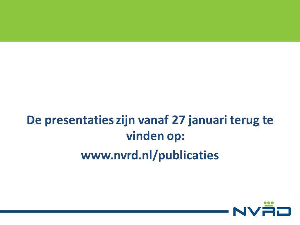 De presentaties zijn vanaf 27 januari terug te vinden op: www.nvrd.nl/publicaties