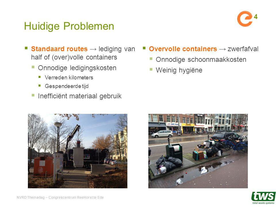 Huidige Problemen  Standaard routes → lediging van half of (over)volle containers  Onnodige ledigingskosten  Verreden kilometers  Gespendeerde tij
