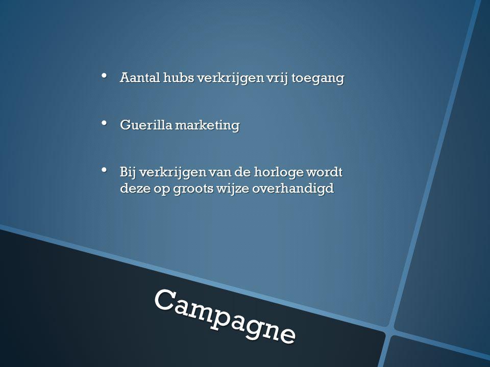 Campagne Aantal hubs verkrijgen vrij toegang Aantal hubs verkrijgen vrij toegang Guerilla marketing Guerilla marketing Bij verkrijgen van de horloge wordt deze op groots wijze overhandigd Bij verkrijgen van de horloge wordt deze op groots wijze overhandigd