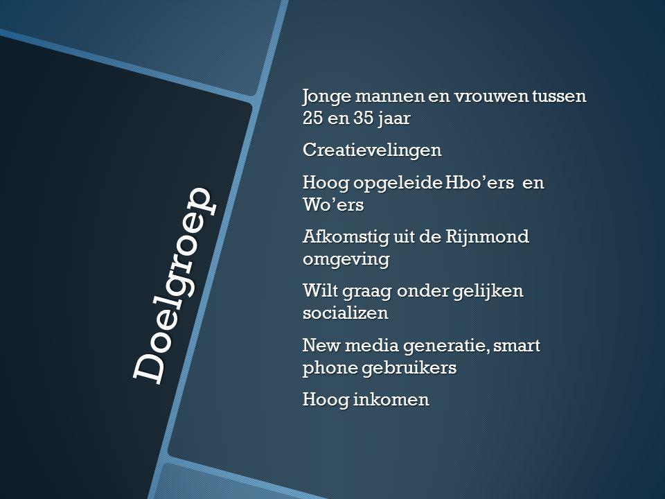 Doelgroep Jonge mannen en vrouwen tussen 25 en 35 jaar Creatievelingen Hoog opgeleide Hbo'ers en Wo'ers Afkomstig uit de Rijnmond omgeving Wilt graag