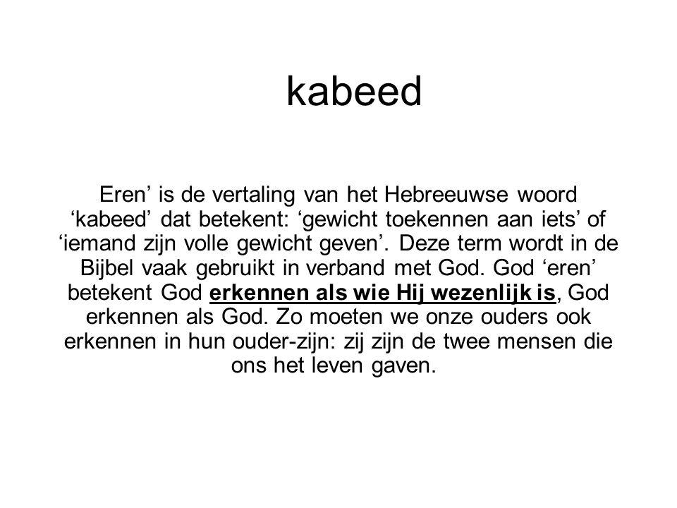 kabeed Eren' is de vertaling van het Hebreeuwse woord 'kabeed' dat betekent: 'gewicht toekennen aan iets' of 'iemand zijn volle gewicht geven'. Deze t