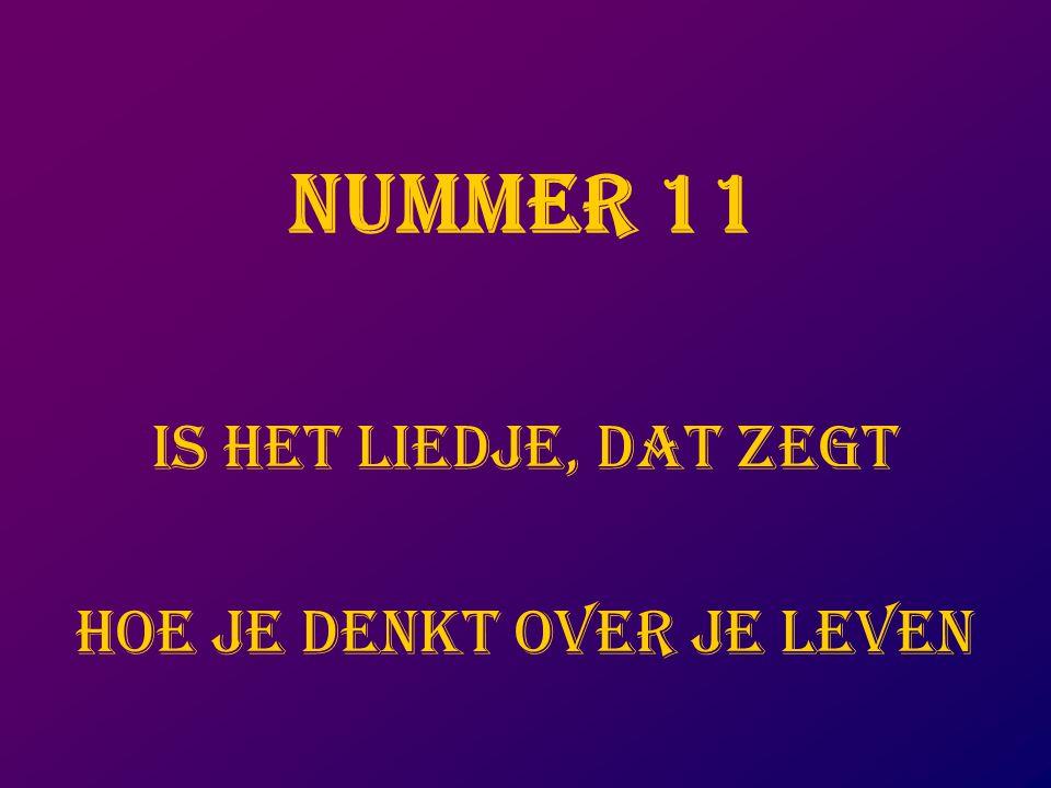 NUMMER 11 IS HET LIEDJE, DAT ZEGT HOE JE DENKT OVER JE LEVEN