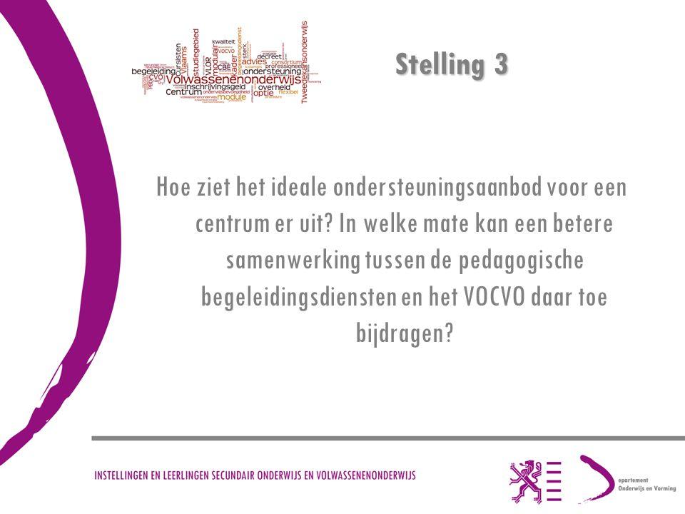 Stelling 3 Hoe ziet het ideale ondersteuningsaanbod voor een centrum er uit? In welke mate kan een betere samenwerking tussen de pedagogische begeleid