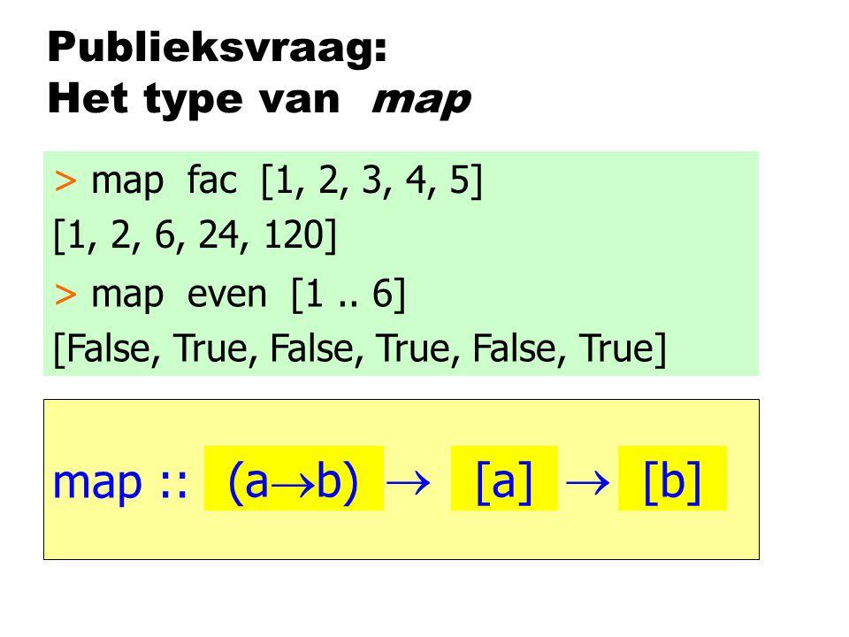 Publieksvraag: Het type van map map :: > map fac [1, 2, 3, 4, 5] [1, 2, 6, 24, 120] > map even [1..
