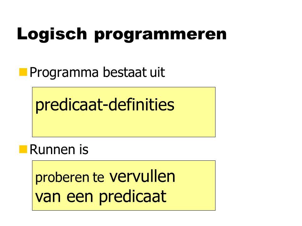 Logisch programmeren nProgramma bestaat uit nRunnen is predicaat-definities proberen te vervullen van een predicaat