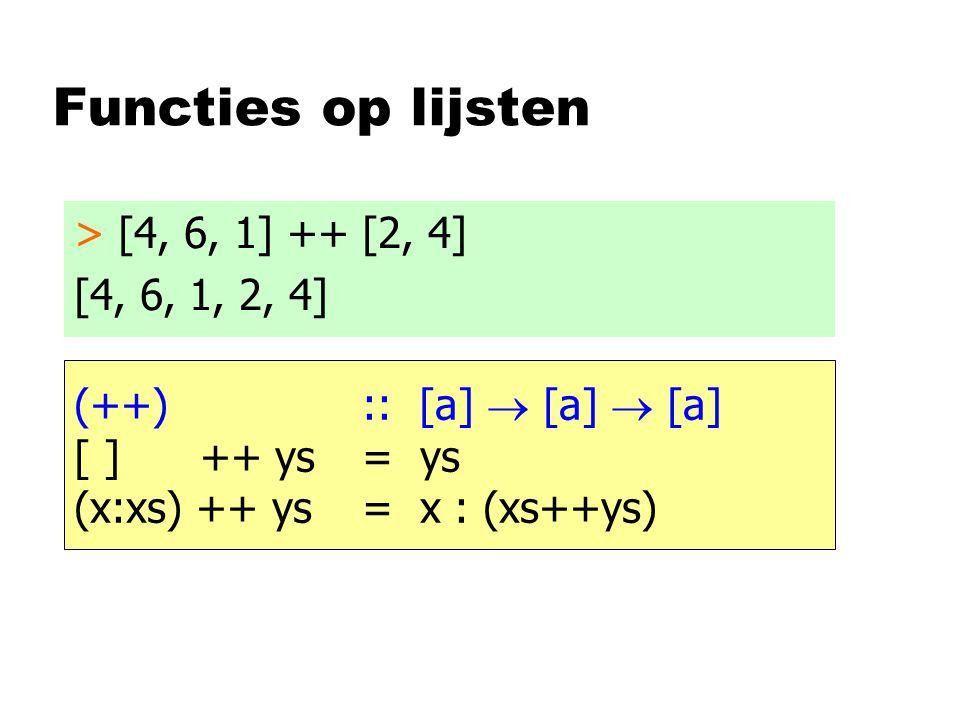 Functies op lijsten > [4, 6, 1] ++ [2, 4] [4, 6, 1, 2, 4] (++) :: [a]  [a]  [a] [ ] ++ ys= ys (x:xs) ++ ys= x : (xs++ys)