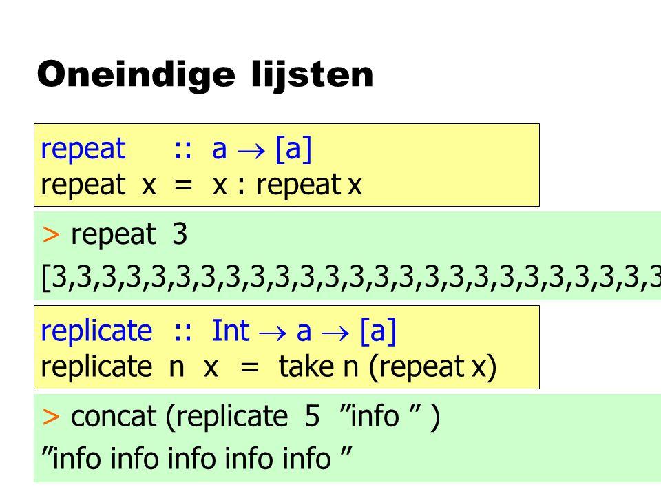 Oneindige lijsten repeat :: a  [a] repeat x= x : repeat x > repeat 3 [3,3,3,3,3,3,3,3,3,3,3,3,3,3,3,3,3,3,3,3,3,3,3,3,3 replicate :: Int  a  [a] re