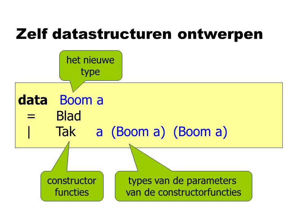 Zelf datastructuren ontwerpen data Boom a = Blad | Tak a (Boom a) (Boom a) constructor functies het nieuwe type types van de parameters van de constru