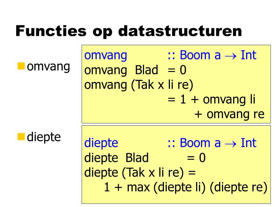 Functies op datastructuren nomvang ndiepte omvang :: Boom a  Int omvang Blad = 0 omvang (Tak x li re) = 1 + omvang li + omvang re diepte :: Boom a 