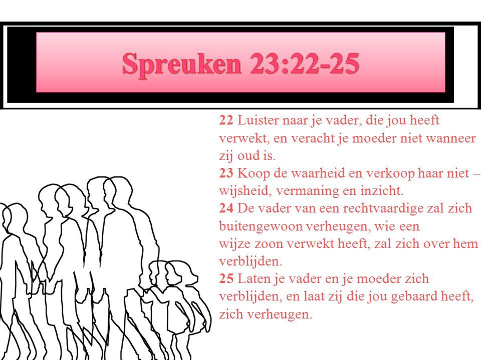 22 Luister naar je vader, die jou heeft verwekt, en veracht je moeder niet wanneer zij oud is.