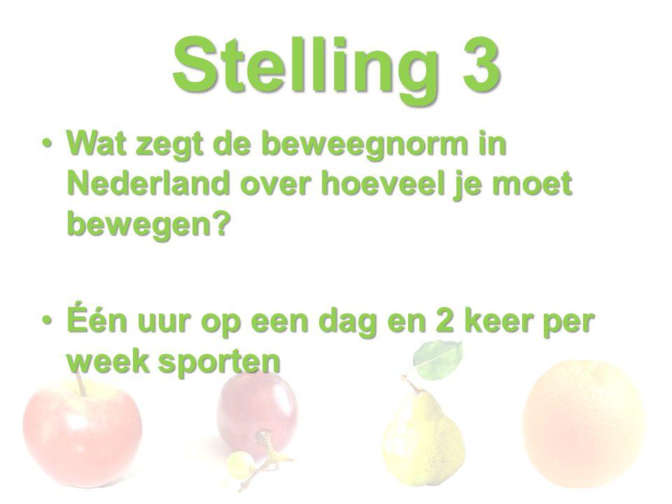 Stelling 3 Wat zegt de beweegnorm in Nederland over hoeveel je moet bewegen?Wat zegt de beweegnorm in Nederland over hoeveel je moet bewegen? Één uur