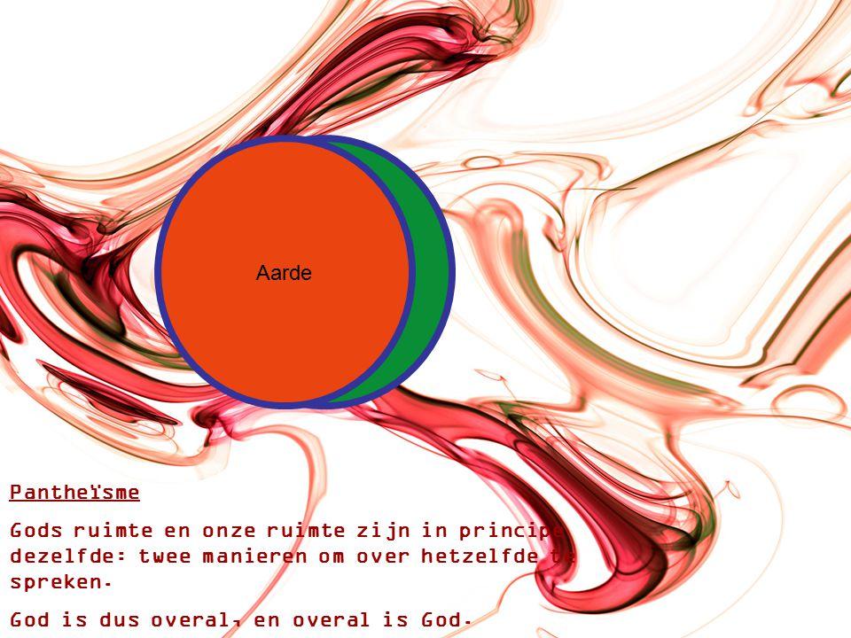 HemelAarde Pantheïsme Gods ruimte en onze ruimte zijn in principe dezelfde: twee manieren om over hetzelfde te spreken.