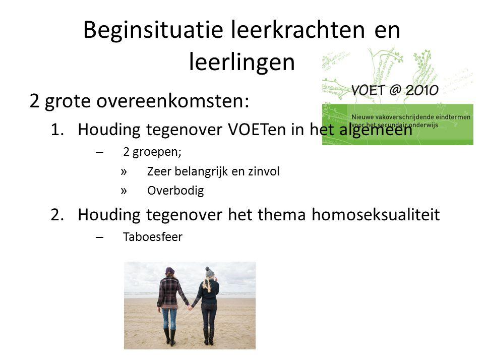 Beginsituatie leerkrachten en leerlingen 2 grote overeenkomsten: 1.Houding tegenover VOETen in het algemeen – 2 groepen; » Zeer belangrijk en zinvol » Overbodig 2.Houding tegenover het thema homoseksualiteit – Taboesfeer
